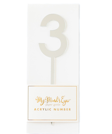 3 silver acrylic number  - party pick
