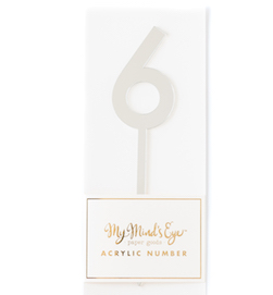 6 silver acrylic number  - party pick