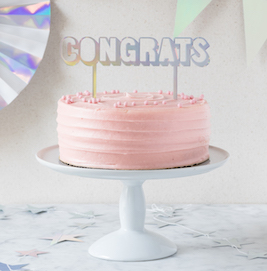 CONGRATS holographic  - cake topper