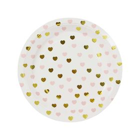 Gold & Pink Sweetheart  - paper plates NEW
