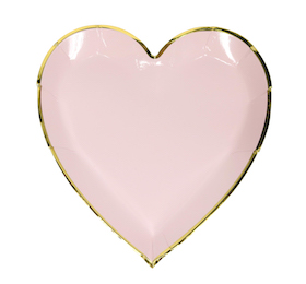 Pink and gold  - heart plates