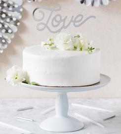 Silver LOVE  - acrylic cake topper