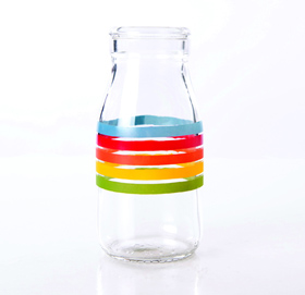 Traditional Glass - Milk rainbow bottle