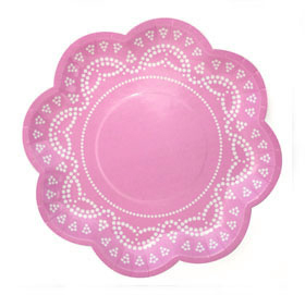 Pink Lovely Lace  - paper plates