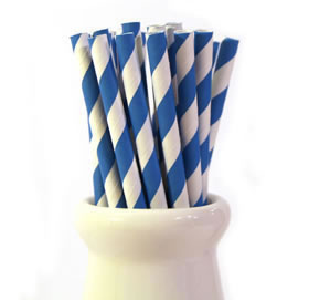 Paper Straws - Bright blue stripe