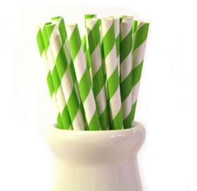 Paper Straws - Lime stripe