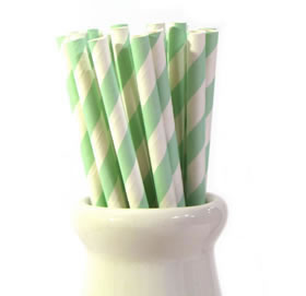 Paper Straws - Mint stripe
