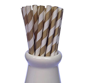 Paper Straws - Stripe gold