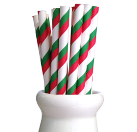 Paper Straws - Stripe red + green