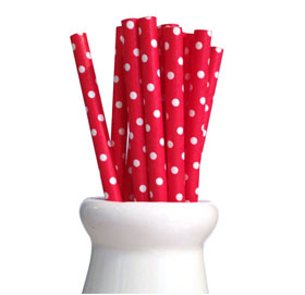 Paper Straws - Swiss dot red