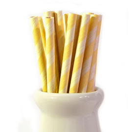 Paper Straws - Yellow stripe