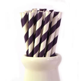 Paper Straws - Purple stripe