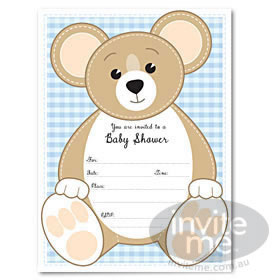Baby Shower Teddy - Blue invitations