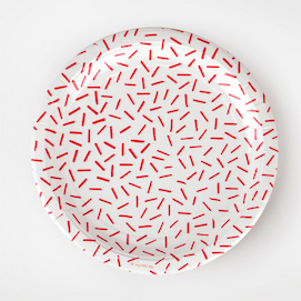 Red sprinkles  - party plates