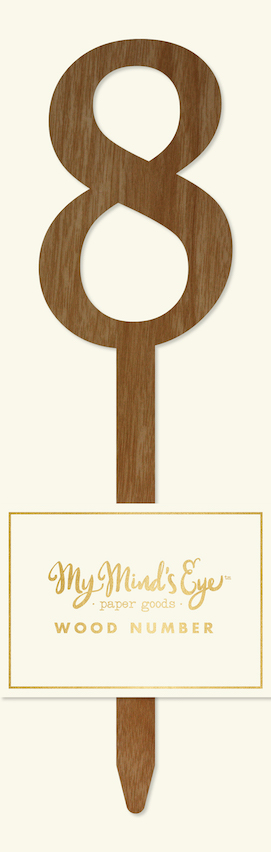 8 Wooden number  - party pick