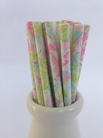Pastel floral Paper  - Straws