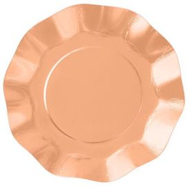 Metallic Rose Gold  - Ruffled paper plates